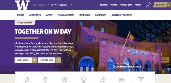 Top University Websites Using WordPress: University of Washington