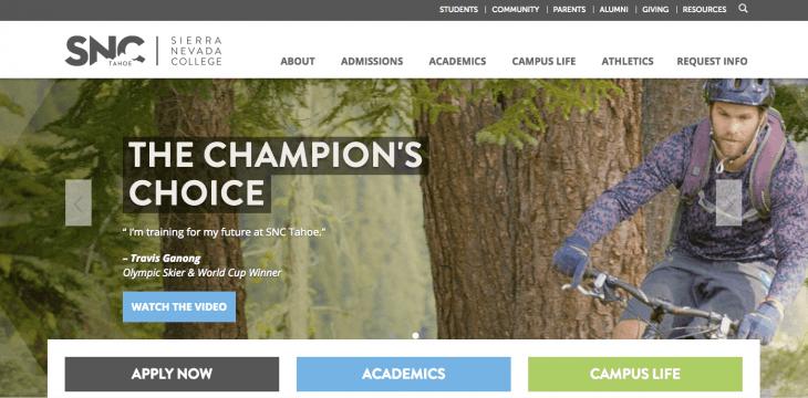 Top University Websites Using WordPress: Sierra Nevada College