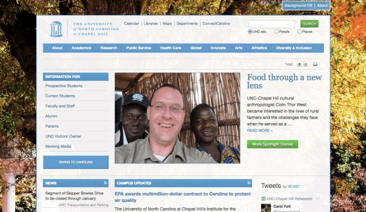 Top University Websites Using WordPress: University of North Carolina at Chapel Hill
