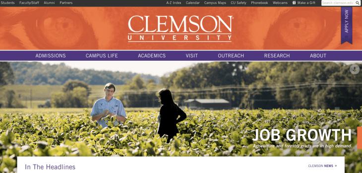 Top University Websites Using WordPress: Clemson