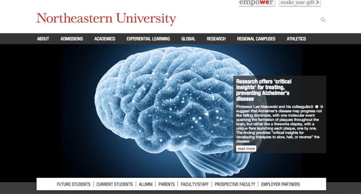 Top University Websites Using WordPress: Northeastern University