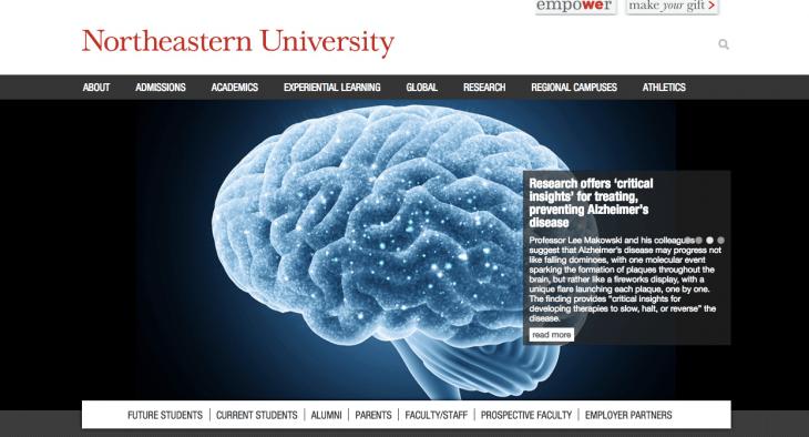 Top University Websites Using WordPress: Northeastern University