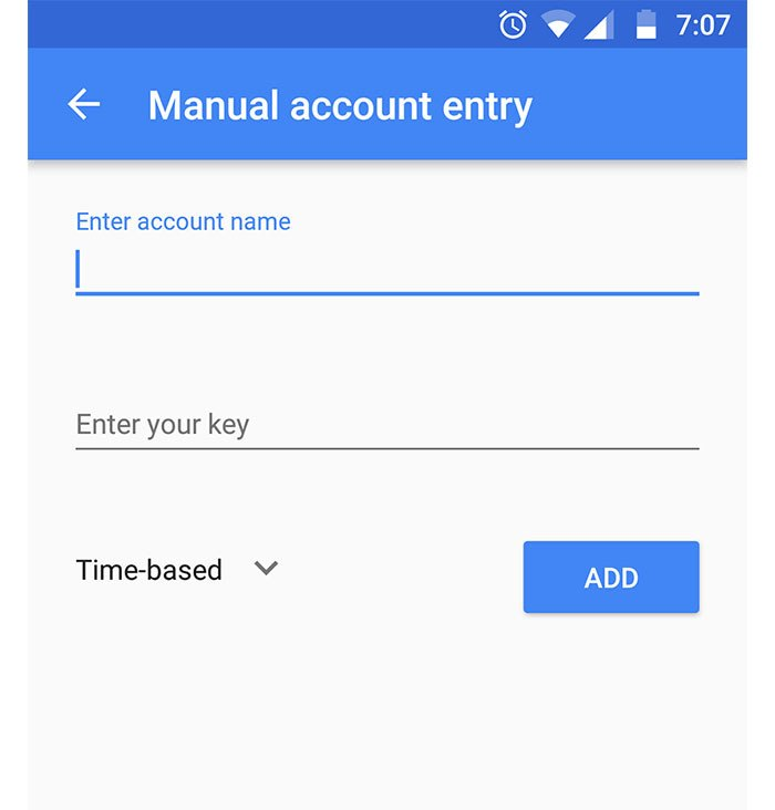 Manual Account Entry in Android