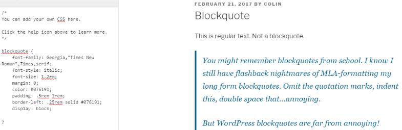 Css style block quotes