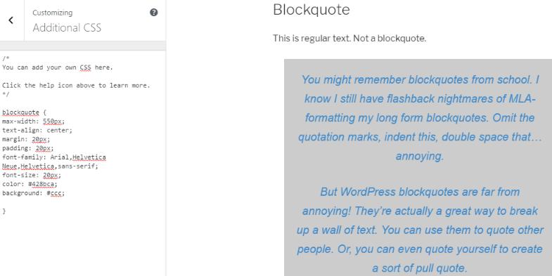 Add background WordPress blockquotes