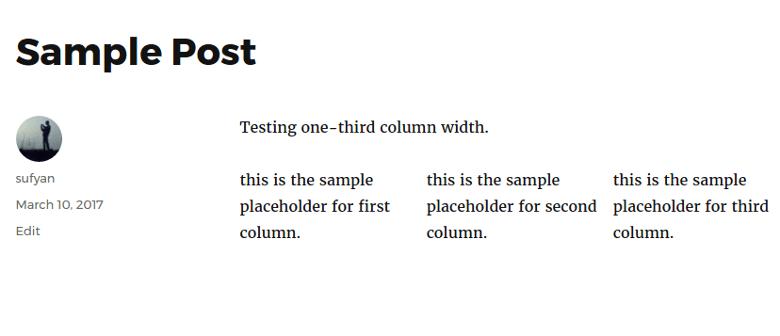 Column Shortcodes Result