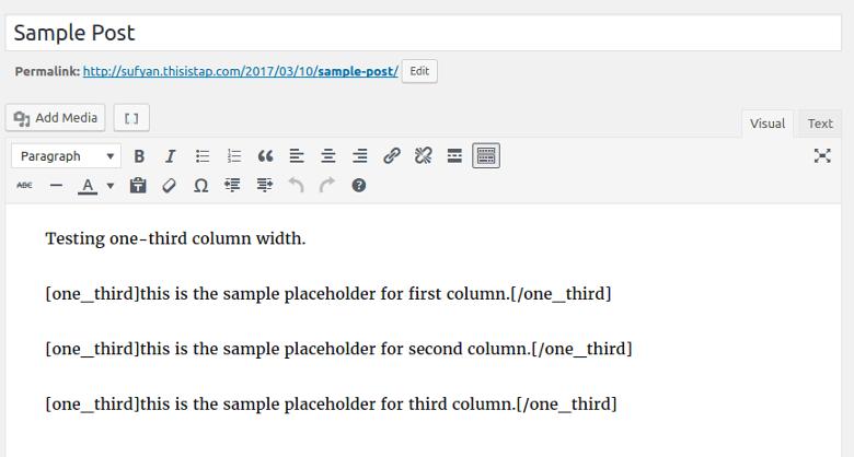 Column Shortcodes editor
