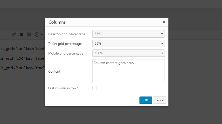 Set your column options