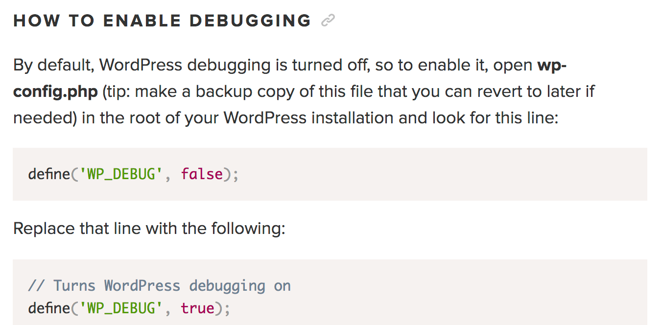 WordPress enable debugging
