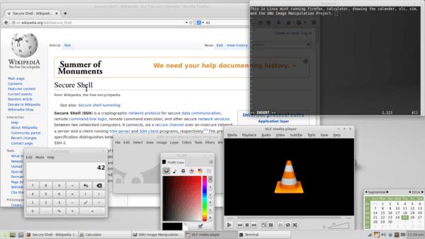A screenshot of free and open-source software: Linux Mint running the Xfce desktop environment, Firefox, a calculator program, the built-in calendar, Vim, GIMP, and VLC media player.