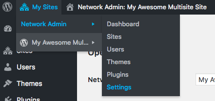 Accessing multisite network settings.
