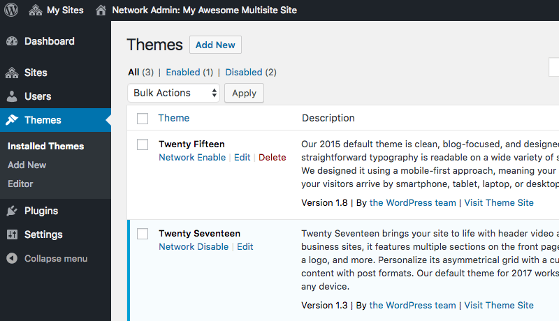 Adding a new theme to a WordPress multisite network