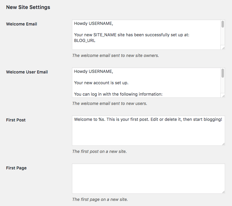 Multisite new site settings