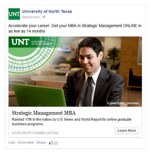 University of North Texas Facebook ad