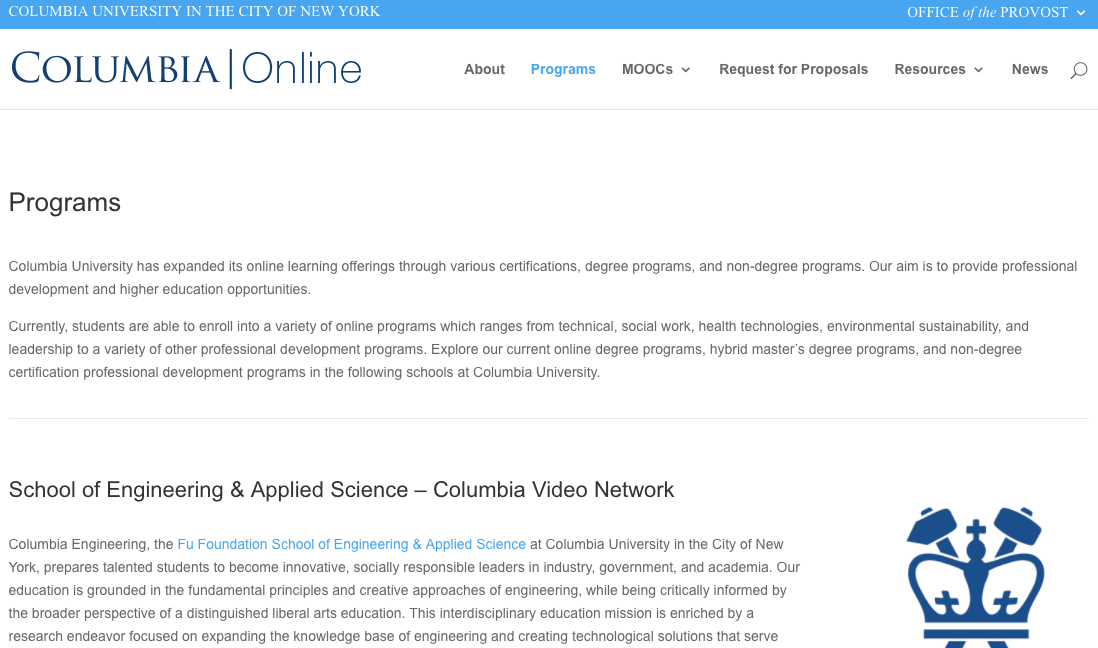 columbia university online learning