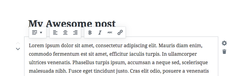 Gutenberg post formatting options