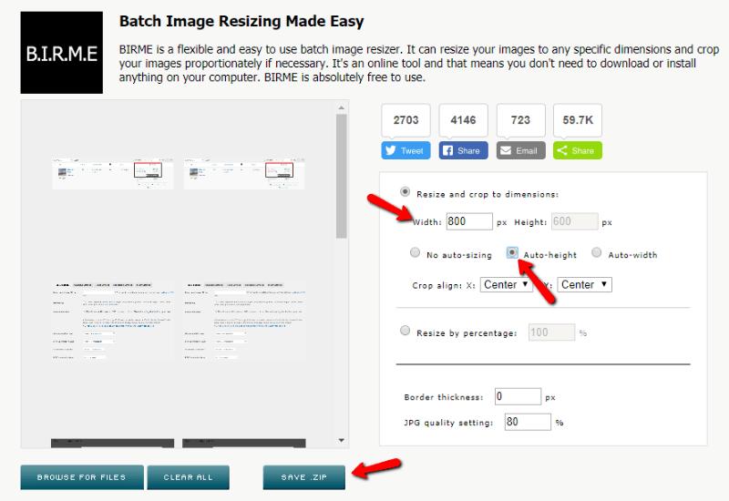 bulk resize images with BIRME