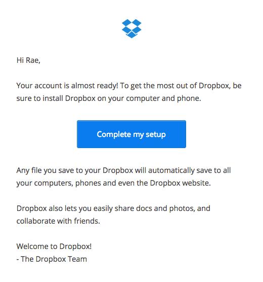 Dropbox complete setup email
