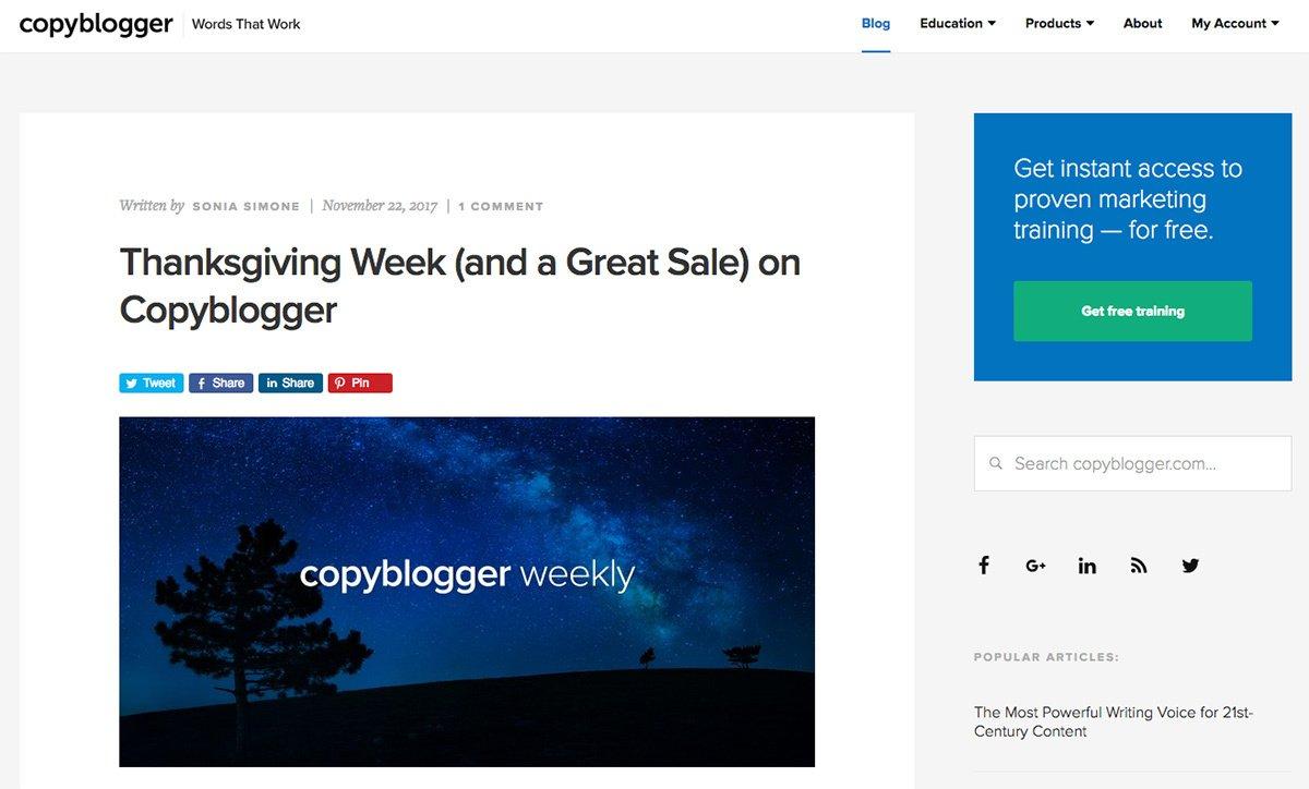 The Copyblogger blog