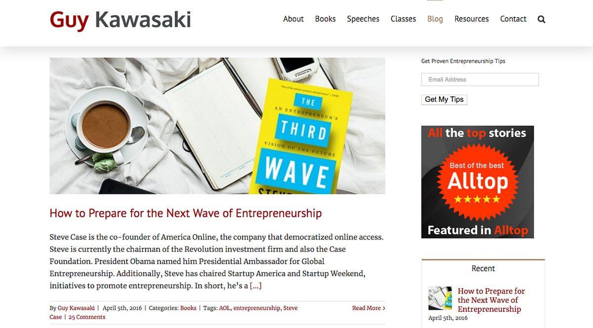 Guy Kawasaki's blog