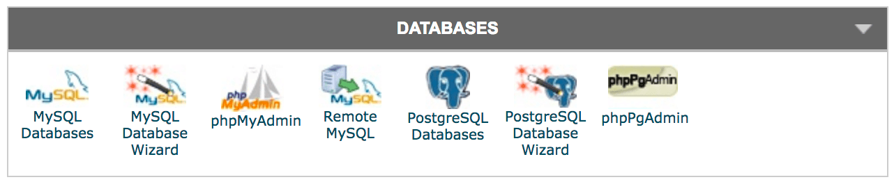 cPanel's Databases section.