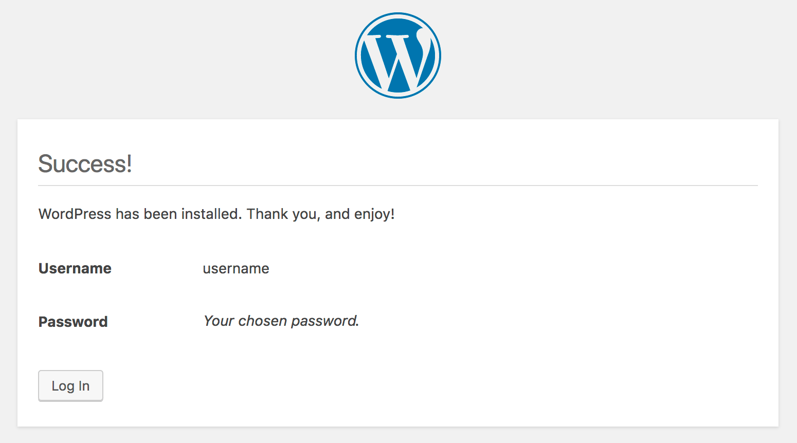 WordPress' success message.