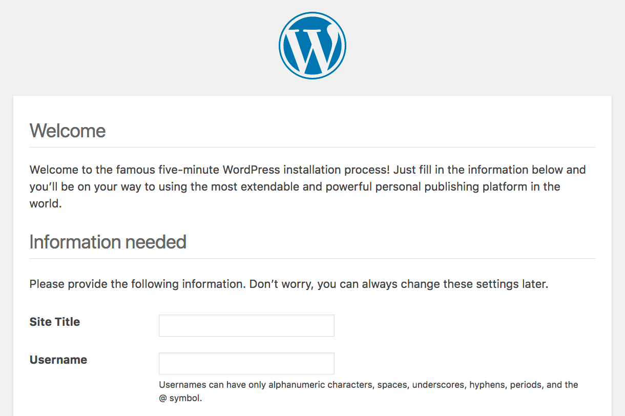 The WordPress installation screen.