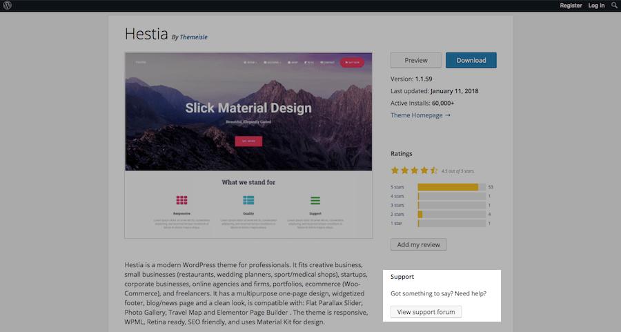 WordPress Theme Evaluation-support