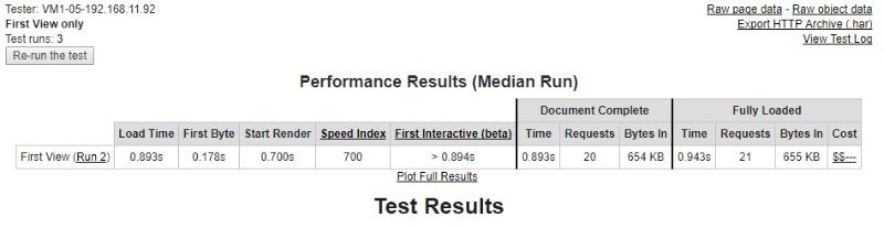 beaver builder webpagetest data