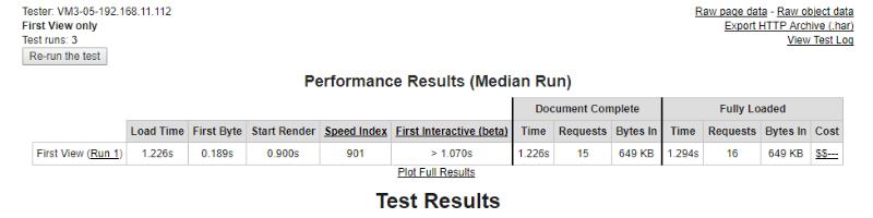 divi builder webpagetest data