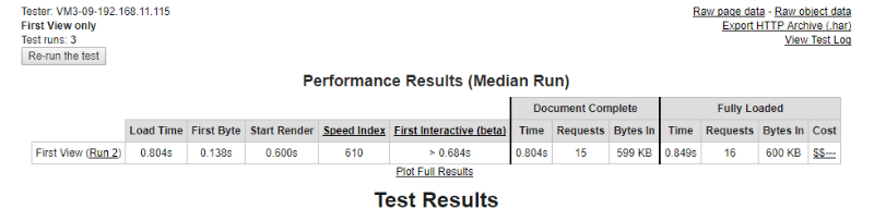 visual composer webpagetest data