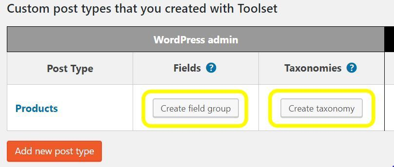 Toolset Types Field Types and Taxonomies