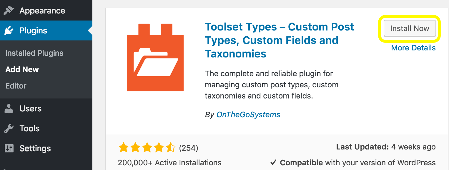 Install and Activate Toolset Types Plugin
