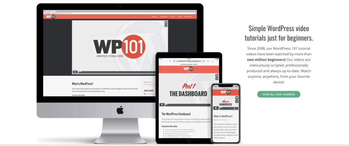 WordPress 101 Home Screen