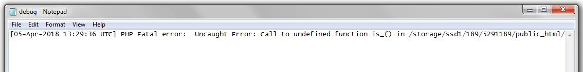 An error log open in a text editor.