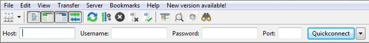 Adding credentials in FileZilla.