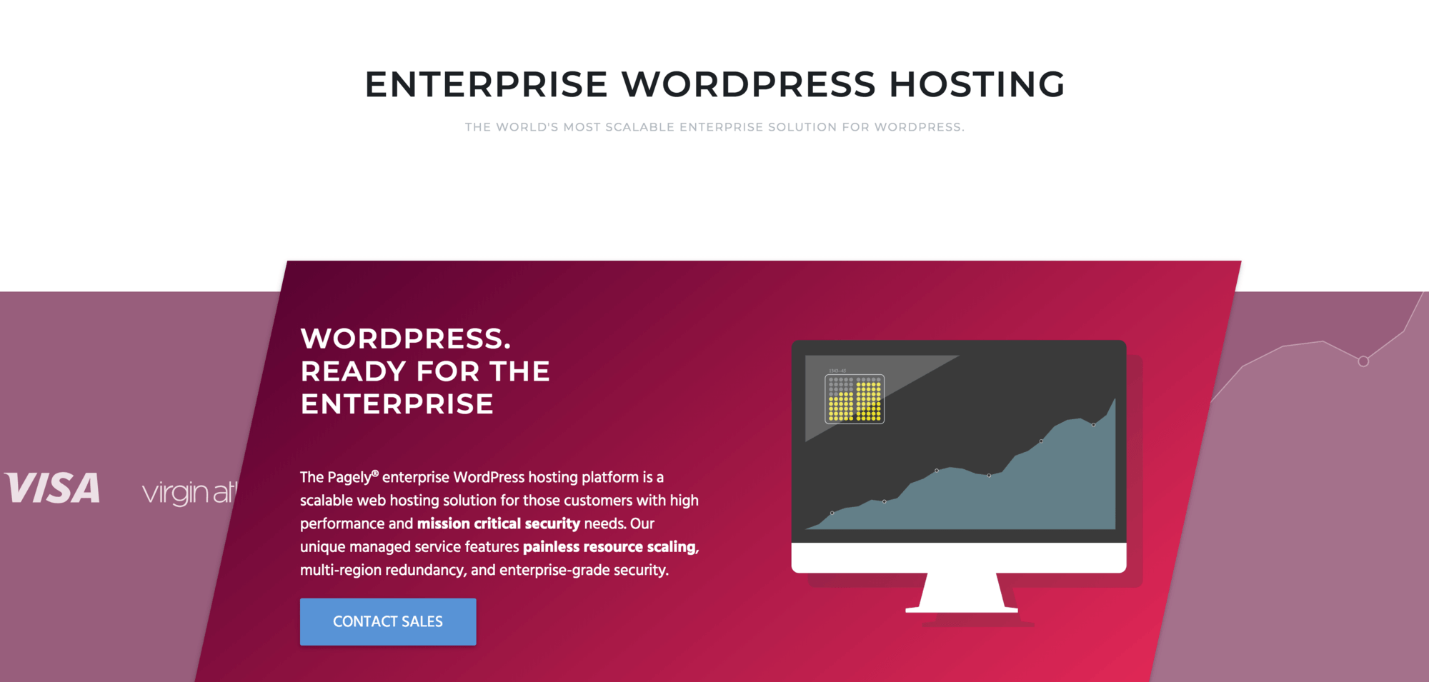 The landing page for Pagely's Enterprise WordPress hosting.