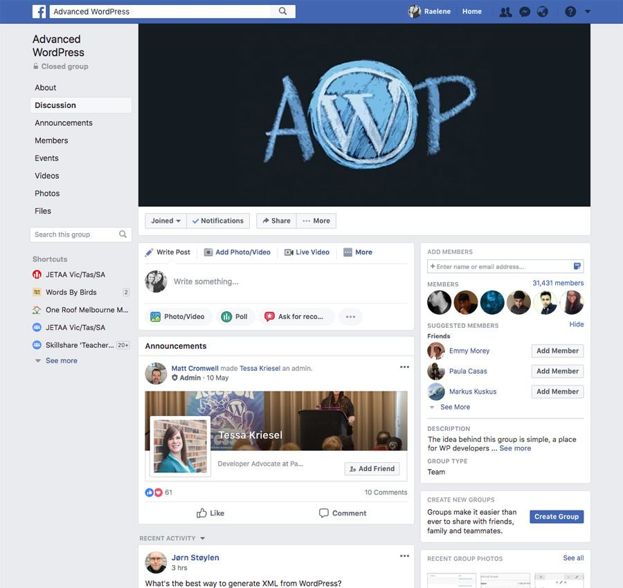 The Advanced WordPress Facebook group is popular with developers.