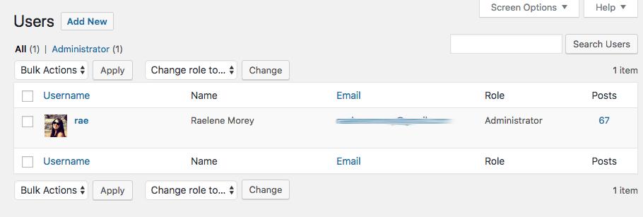 WordPress All Users screen