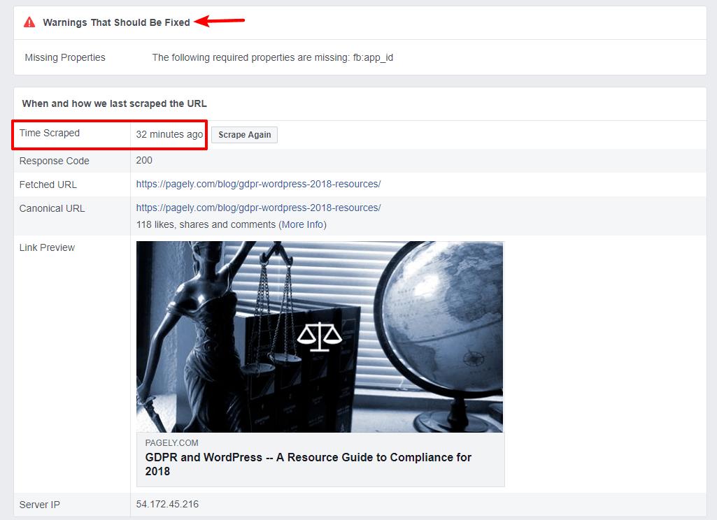 Facebook Debugger results