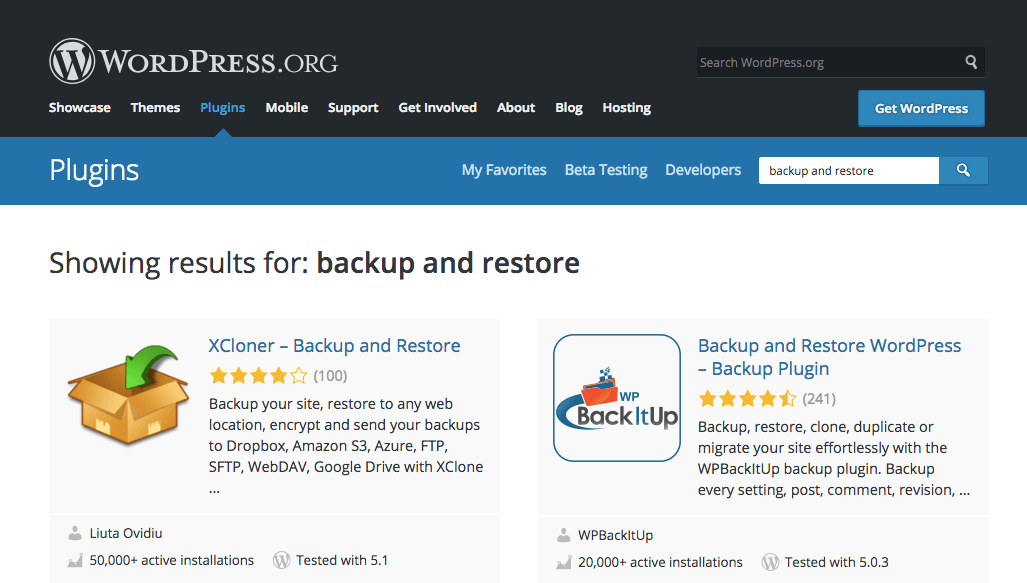 A search performed for backup and restore plugins for WordPress, essential tools any business continuity plan.