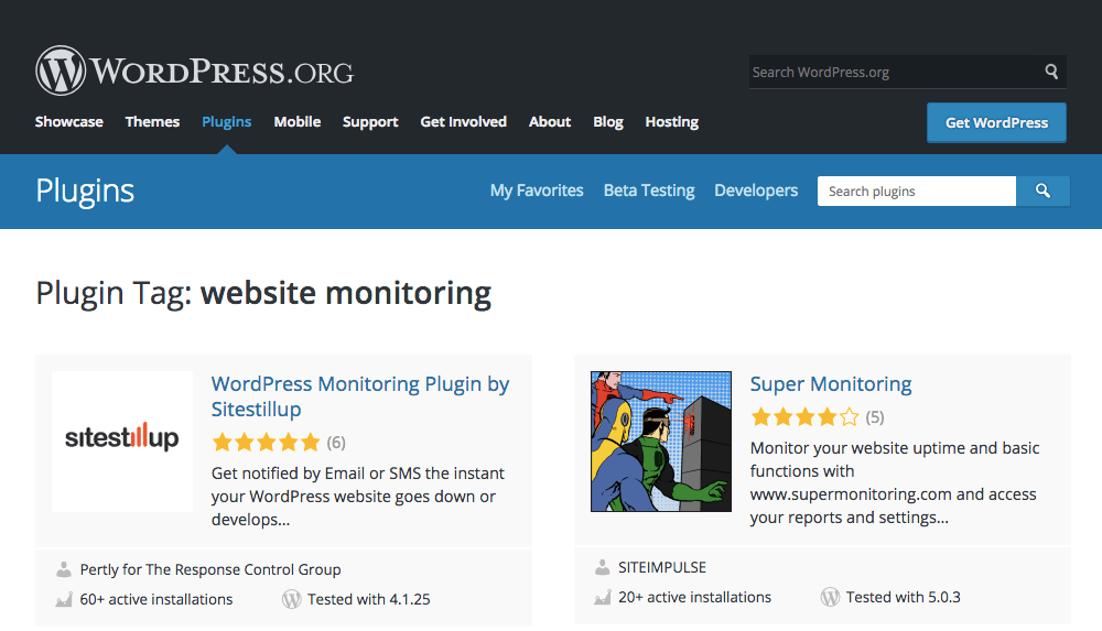 "A screenshot a WordPress plugin search for ""website monitoring"" and top results. Automated website monitoring is a vital service for disaster planning."