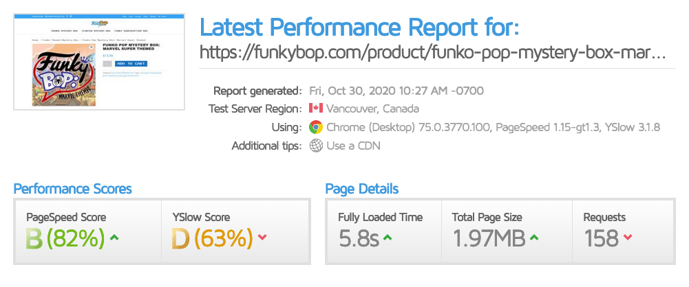 Single product page performance screenshot