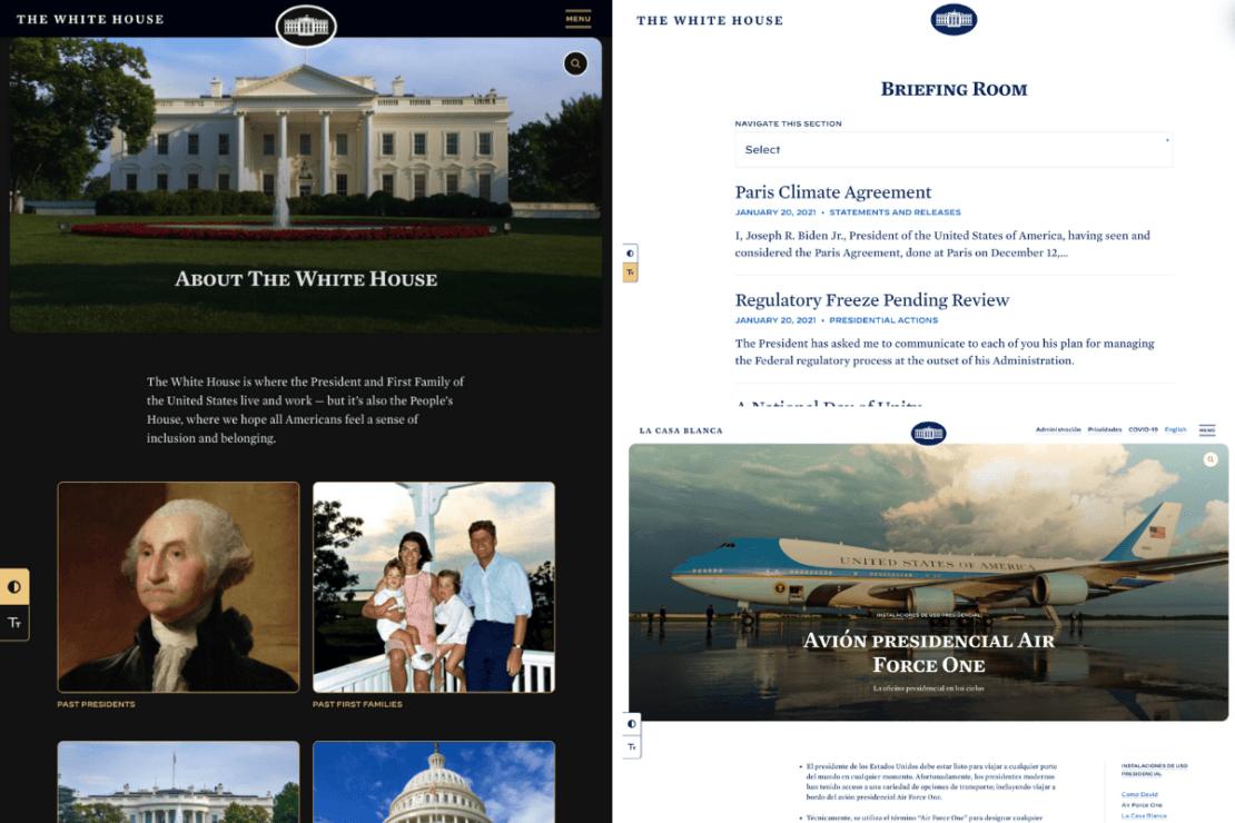 High contrast mode, Whitehouse Chooses WordPress