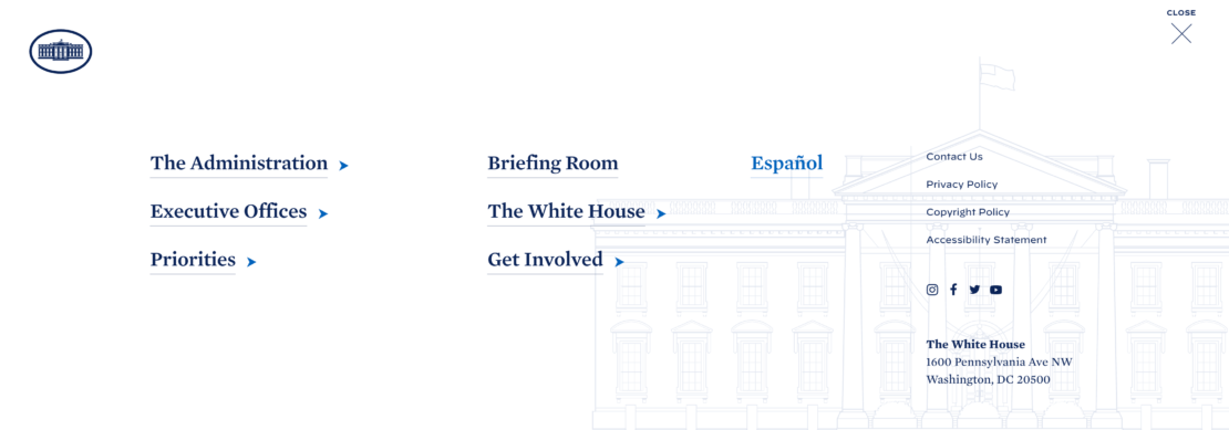ACCESSIBILITY FEATURES, Whitehouse Chooses WordPress